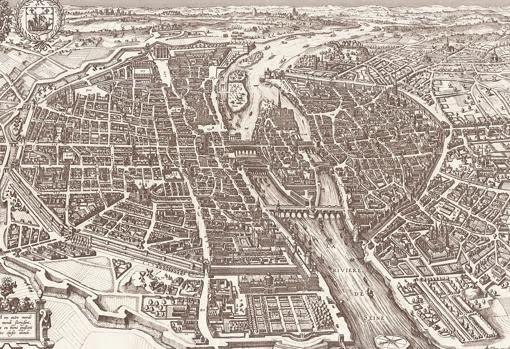 Imagen de París en 1618, por Claes Jansz Visscher.